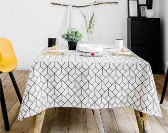 Bombay Square Geometric Tablecloth / Linen Tablecloth / Kitchen Tablecloth  / Rectangle Tablecloth / Thick Fabric