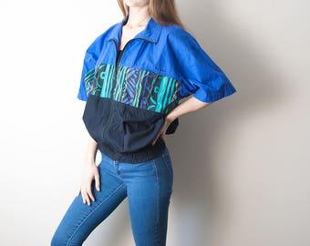 80s Vintage Short Sleeve Boat Jacket, Geometric Print