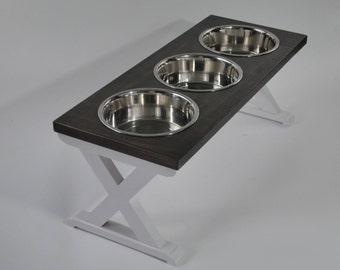 Large - Three Bowl - Dog Bowl Stand - Raised Dog Feeder - Elevated Dog Feeder - Dog Bowl Holder - Dog Feeder - Pet Stands - Dog Food Stand