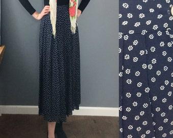 Vintage pleated navy midi skirt with cog print