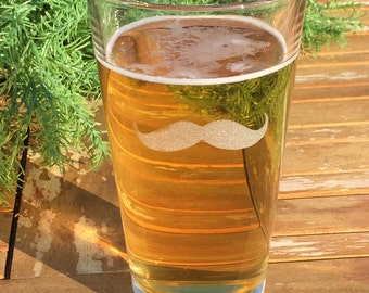 Pint Glasses-Mixing Glass-Beer Glass-Mustache-Engraved-Gift For Men-(Set of 4)