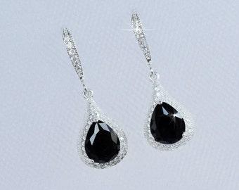 Classic Handmade Jet Black CZ Waterdrop Dangle Earrings (Sparkle-2617)