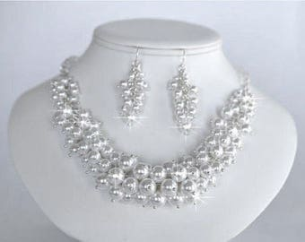Vintage Inspired White Pearl and Crystal Necklace and Earrings Set, Bridal, Wedding (Pearl-211)