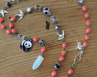 Hot Pink Panda Healing Quartz Crystal Necklace
