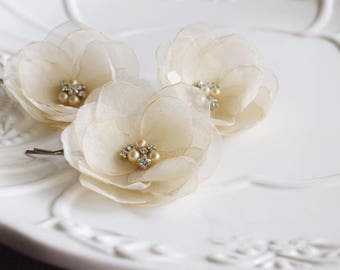 Bridal Hair Accessories Champagne Flowers Bridesmaid Hair Pins Flower Clip Wedding Hair Piece Bridal Flower Hair Clip Wedding Hair Flower