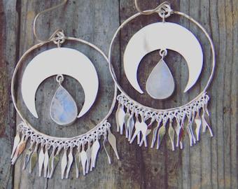 Opia Moon Earrings, Moonstone Earrings, Sterling Silver Earrings, Boho Earrings, Gypsy Earrings, Dangle Earrings, Sunsara Jewellery
