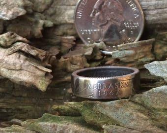 Nebraska state quarter coin ring