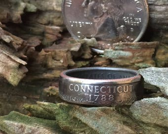 Silver Connecticut quarter coin ring