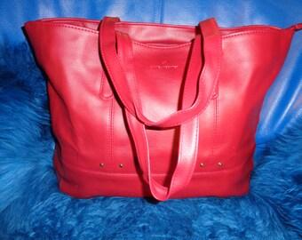 "Bag ""Daniel Hechter""/ Vintage/ Years 90/ Red Sky material/ 35 x32 cm"