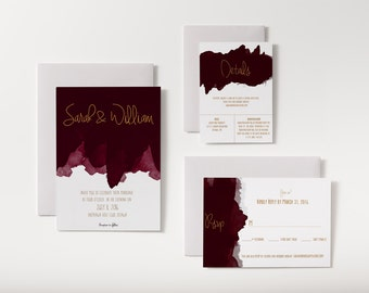 No. 10 (Wine) | Printable 5 x 7 Wedding Invitation | 5 x 3.5 RSVP | 5 x 3.5 Details Card