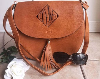 Monogram Cross Body tassel hipster tribal personalized bag in Camel