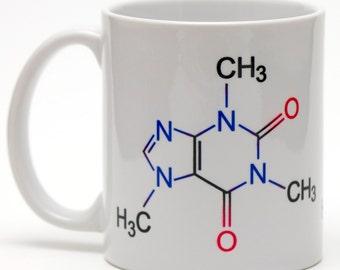 Caffeine Molecule 11oz ceramic mug.