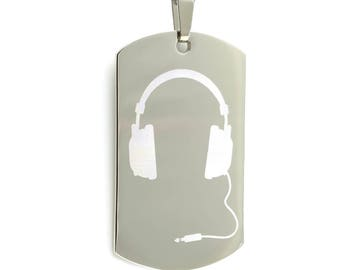 Personalized Stainless Steel Laser Etched DJ Headphones Dog Tag Necklace
