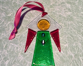 Green Glass Angel Holiday Ornament