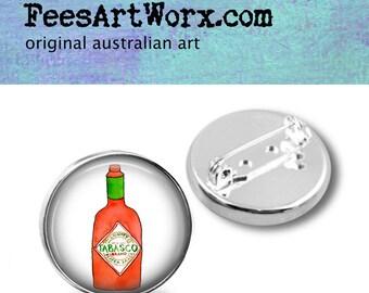 Handmade, Button Badge, Tabasco Pin, Tabasco Lapel Pin, Tabasco Badge, Lapel Pin Mens, Gift for Him, Tabasco Art Jewelry, Mens Lapel Pin