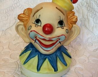 Vintage Brinns Porcelain Spinning Clown Music Box
