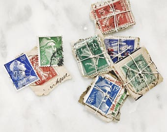 25 Vintage French Postage Stamps Red, Blue and Green, Paper Ephemera