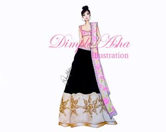 illustration,fashion illustration,custom illustration,bridal illustration,wedding illustration,indian bridal illustration,custom portrait
