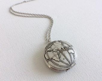 Silver World Locket, Globe Locket, Silver World Necklace, World Globe Locket, Traveler's Gift, World Necklace, Silver Locket, Map Locket