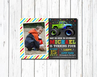 Monster Truck Birthday Invitation, MONSTER TRUCK INVITATION, Monster Truck Party, Monster Truck, Let's Roll, with photo