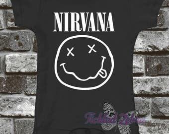 Nirvana Baby Bodysuit, Toddler, Youth Shirt - Grunge - 90's Alternative Rock - Shower Gift - Smells Like Teen Spirit - Kurt Cobain Band