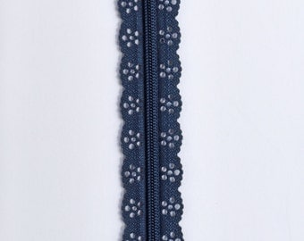 "Dark Navy Blue Lace Zipper - Navy Blue Zippers - Lace Zippers - 8"" Zipper - Bag Zippers - Purse Zipper - Sewing Zipper - Sewing Notions"