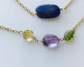 Aventurine Necklace, Gemstone Necklace , Amethyst necklace, Peridot Necklace, Gemstone Necklace, December Birthstone, August Birthstone