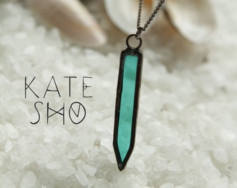 Emerald crystal necklace, bohemian necklace, mini necklace, boho necklace, emerald jewelry, boho jewelry, hippie necklace, gypsy necklace