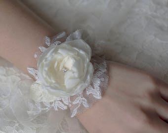 Fabric flower corsage | bridal corsage | white corsage | bridal wrist cuff | wrist corsage
