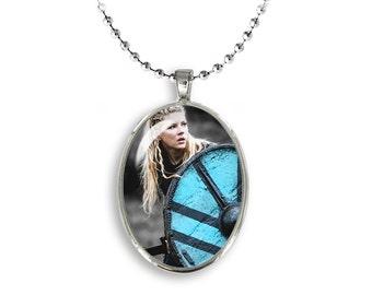 Lagertha Oval Pendant Lagertha Shieldmaiden Necklace Vikings Fandom Jewelry, Cosplay, Fangirl, Fanboy