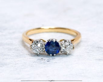 Antique Three Stone Sapphire Engagement Ring | Diamond Sapphire Ring | Antique Ring | Antique Jewelry | Antique Jewellery | Vintage Ring