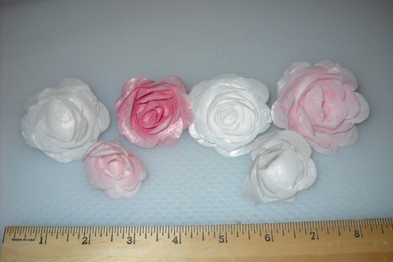 Edible Rose Cake Decoration : Edible Wafer Rose Flower Cake Decoration in Pink White and