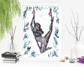 Aerial Princess: original Art. Watercolors on paper inspired by Aerial Yoga and Aerial Dance. Size 21x29,7 cm (8x11.5 inches) unique design.