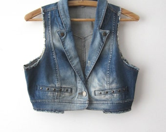 Vintage Denim Vest Jeans Bolero Vest Cropped Denim Vest Washed Out Jeans Waistcoat Fitted Short Vest Small Size Vest Small Waistcoat