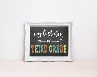 "Last Day Of Third Grade Chalkboard Sign || 8""x10"" DIGITAL DOWNLOAD Last Day Of School Chalkboard Printable 