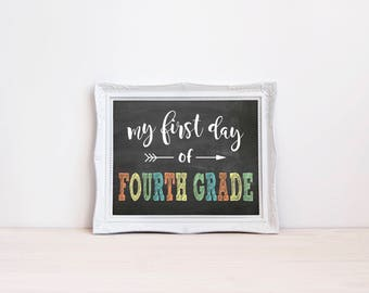"""First Day Of Fourth Grade Chalkboard Sign 
