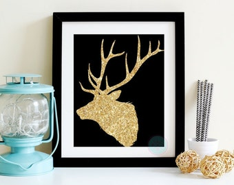 PRINTABLE ART Skull Deer With Antlers Faux Gold Glitter Bohemian Wedding Stag Horn Deer Antler Stag Antler Tribal Chic Rustic Deer Art