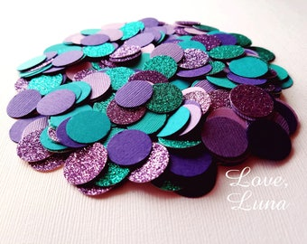 250 Piece Purple & Teal Confetti | Turquoise and Purple Confetti | Teal and Purple Confetti | Mermaid Party Decor | Mermaid Confetti
