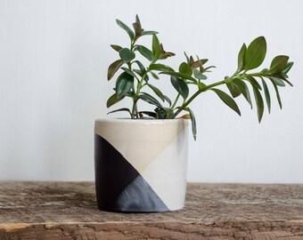 Black White Planter, Planter, Succulent Planter, Ceramic Planter, Minimalist, Pottery Planter, Small Planter, Cactus Planter,Modern Planter