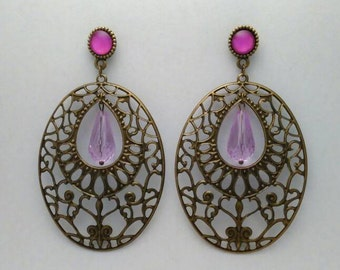 Romantic earring in bronze with colorful decorations cabochons