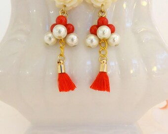 Cream And Red Rose Flower Earring, Gold Chain With Red Tassel Earrings, Rose Mini Tassel Earrings, Flower Shaped Stud, Whie Red Rose Earring