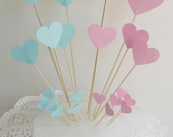 Heart Wedding Cake Topper in pink and blue. Set of 22 pieces.