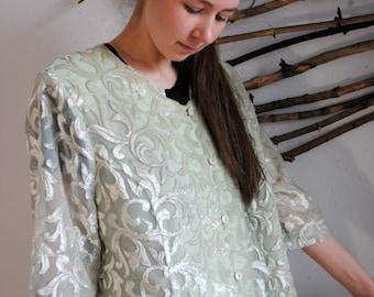 Lace Vintage womens blouse 1990s 1980s purpule colour Hermann Lange Collection