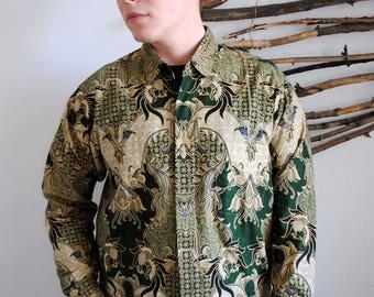 Vintage mens shirt 1990s 1980s mens green boho buta print J.mago
