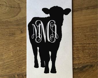 Cow Decal / Cow Sticker / Cow Monogram / Calf Monogram / Steer Monogram / FFA Monogram / Steer Decal / Steer Sticker / 4H Monogram