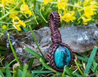 Tibetan Turquoise Pendant ~ Tibetan Turquoise Necklace ~ Macrame Pendant ~ Macrame Necklace ~ Handmade ~ Healing ~ Macrame Jewelery