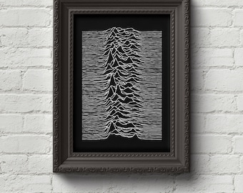 Joy Division - Unknown Pleasures Print, Wall Art, Music, Rock, Retro, Ian Curtis, Punk, Cute Gift