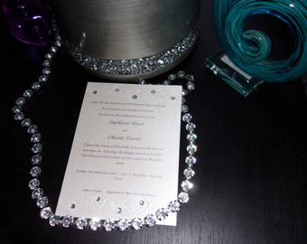 Simple Elegance Wedding Invitation with Rhinestones