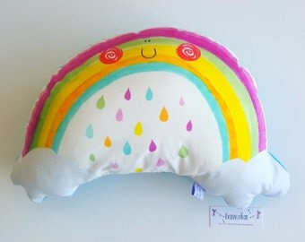 Decorative cute rainbow illustrative cushion