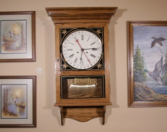 Hand Crafted Wall Clock (Time/Date) in Red Oak - Quartz Movement
